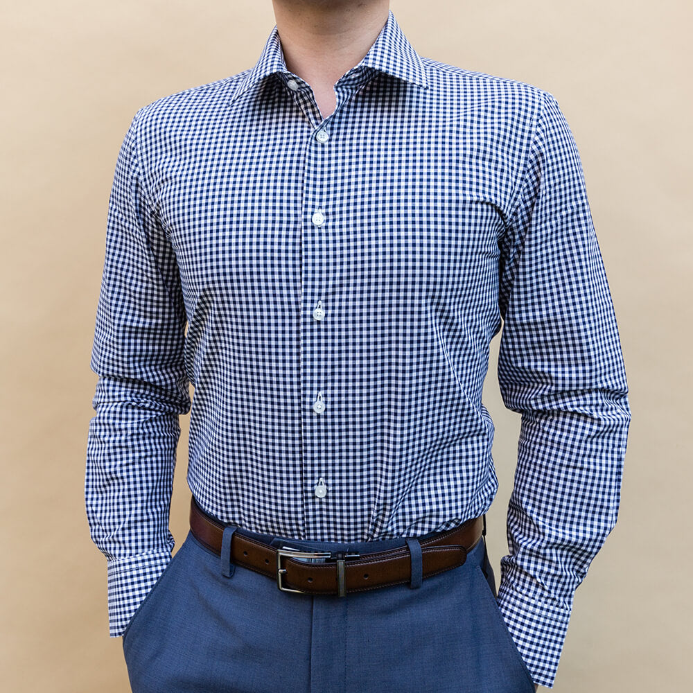 Dark Navy Checked Dress Shirt | The Abacus