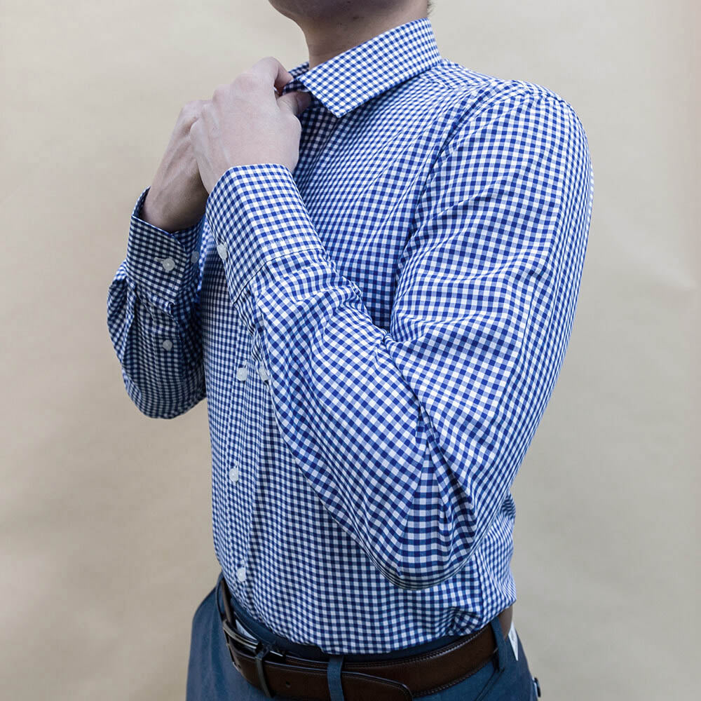 Navy Blue Checked Dress Shirt | The Ming