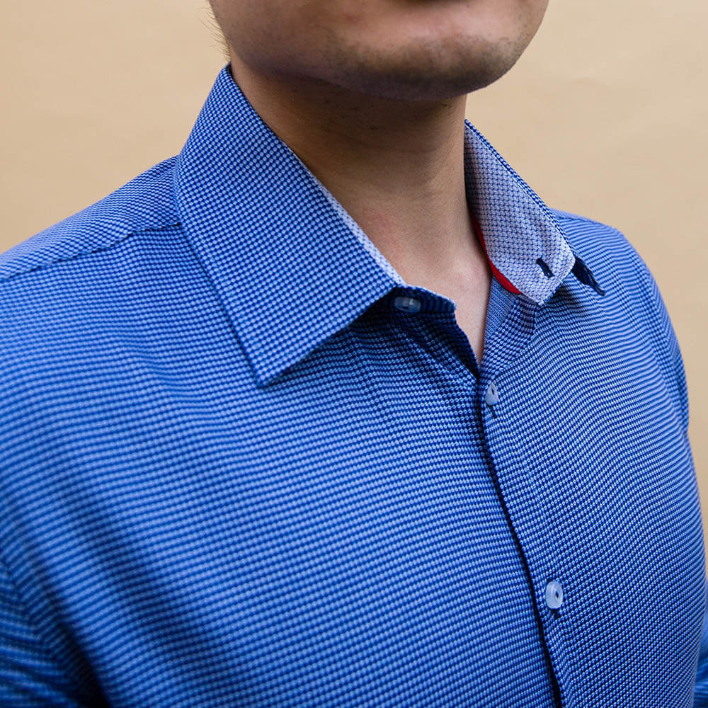 Navy Textured Patterned Dress Shirt | The Pebble