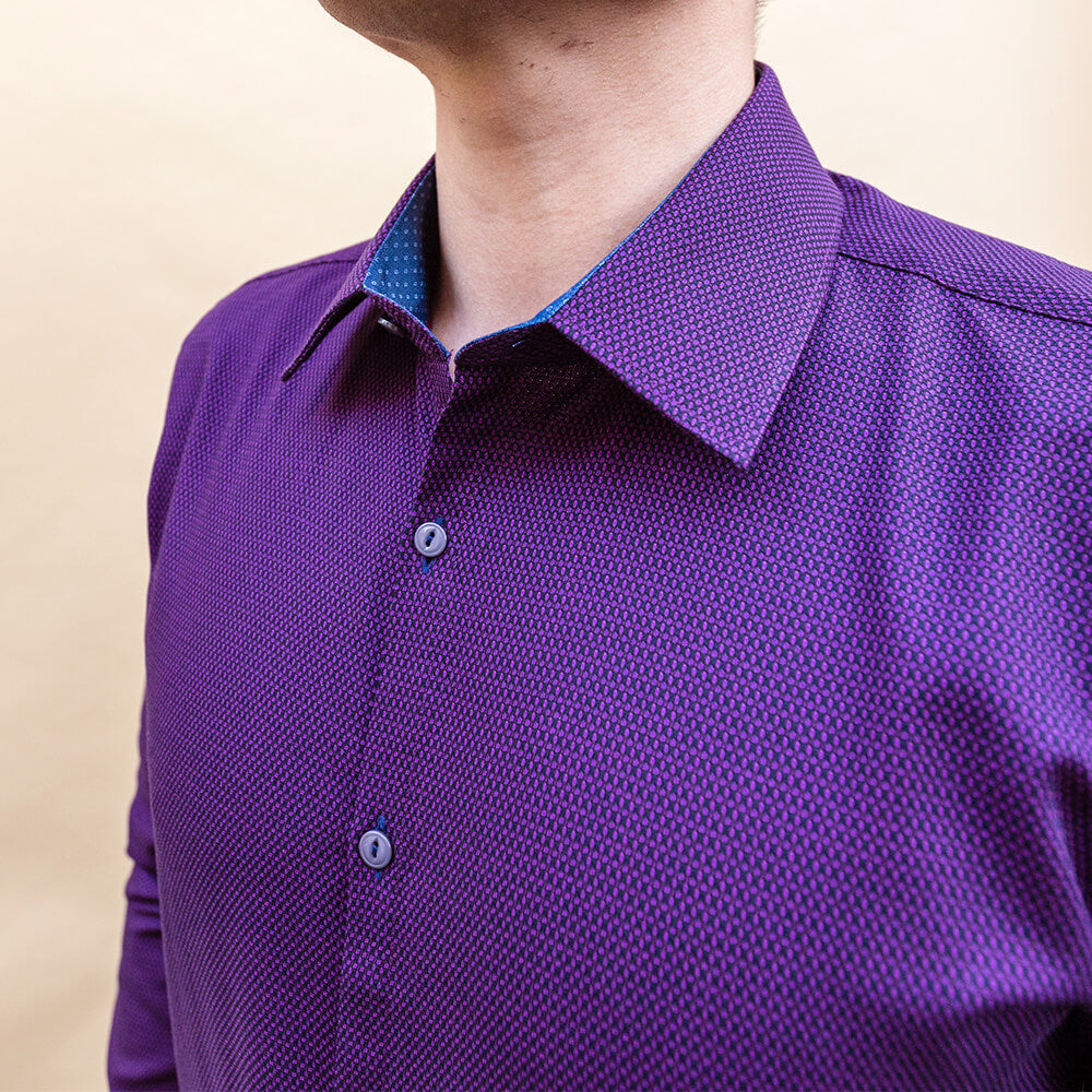 Purple Textured Patterned Dress Shirt | The Edo