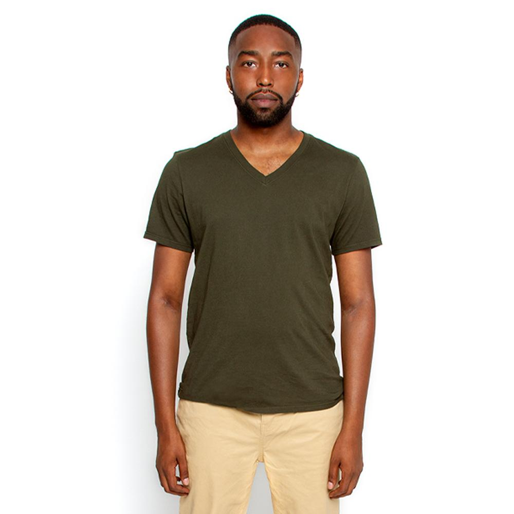 Men's Olive T Shirt V Neck | Nimble Basics