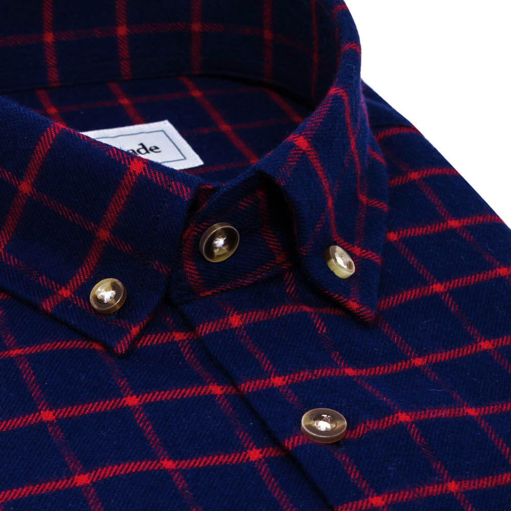 Dark Blue and Red Flannel Button Down Shirt | The Betta
