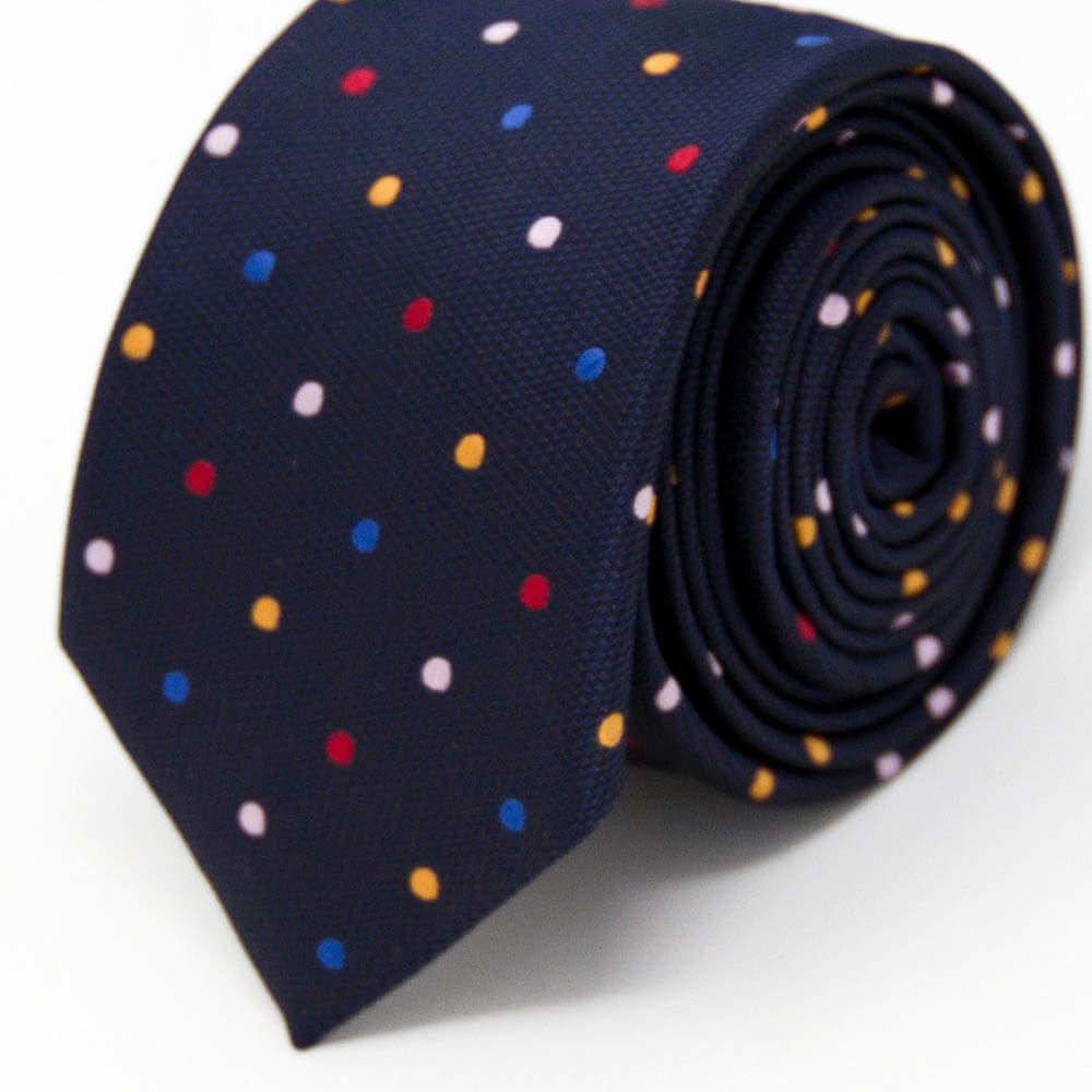 Dark Navy Blue Polka Dots Tie