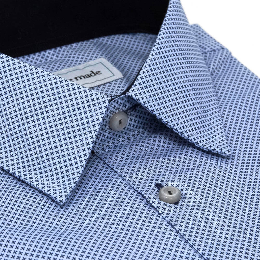 Dark Blue Printed Dress Shirt | The No. 10