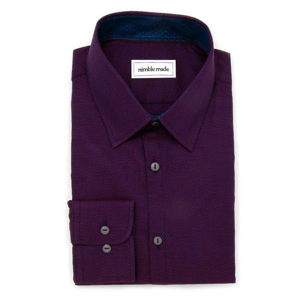 slim-casual-purple-dress-shirt-patterned-weave-top