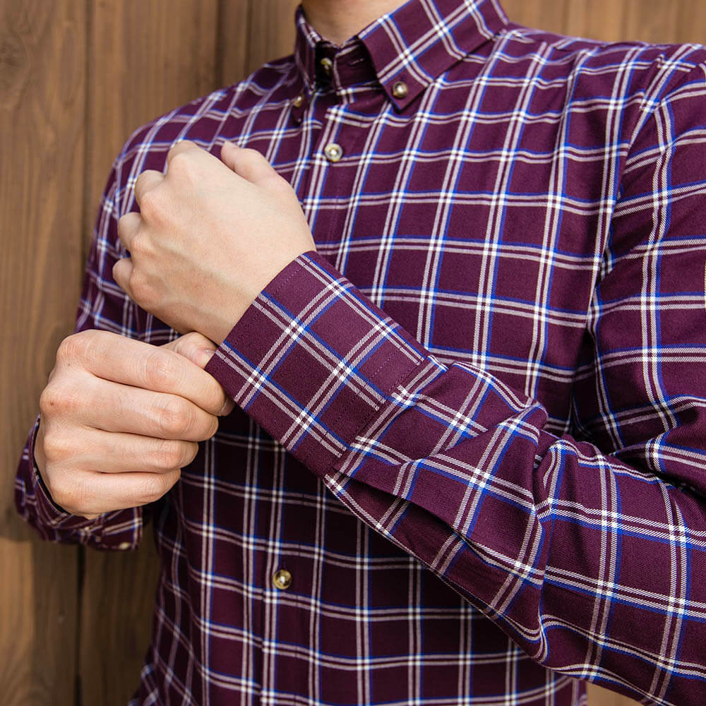 Burgundy and White Flannel Button Down Shirt | The Azuki