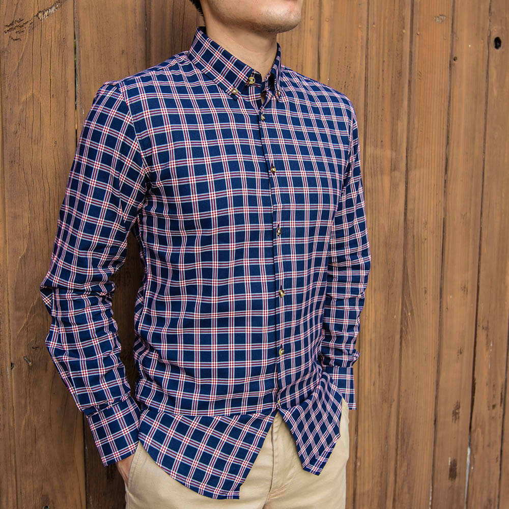 Navy and Red Flannel Button Down Shirt | The Showa