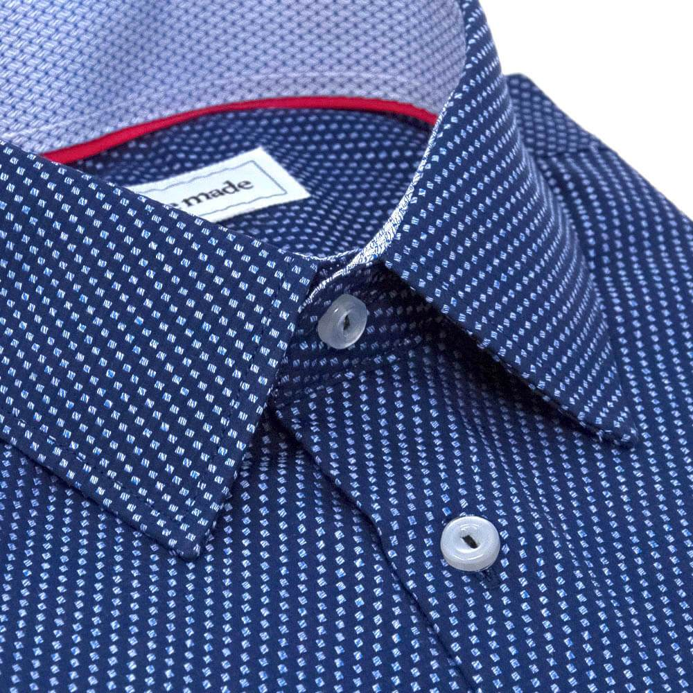 slim-navy-checkered-shirt-angled-collar-closeup