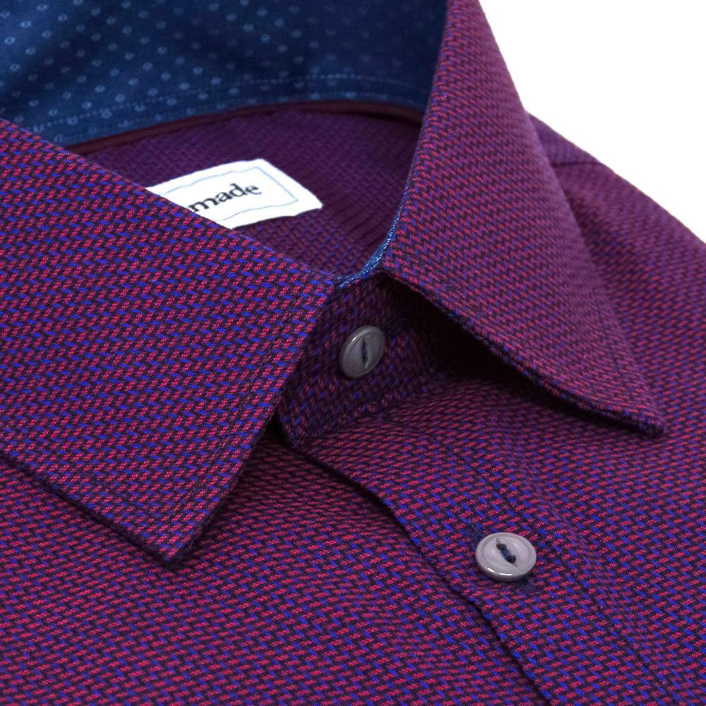 slim-purple-casual-dress-shirt-patterned-weave-angled-collar-closeup