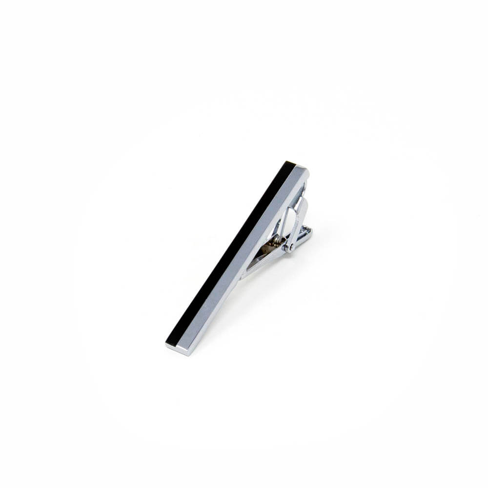 Black and Silver Striped Tie Clip