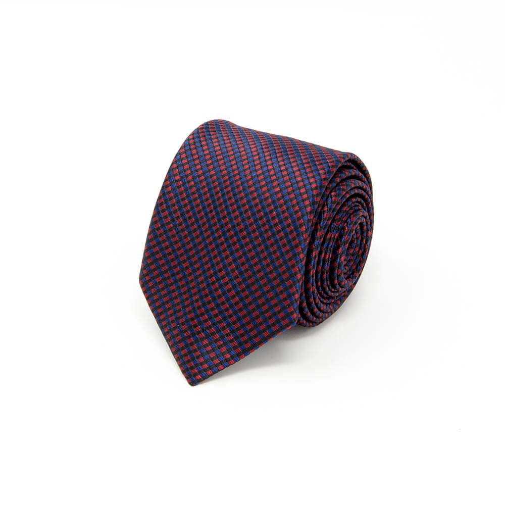 Dark Purple and Blue Checkered Tie