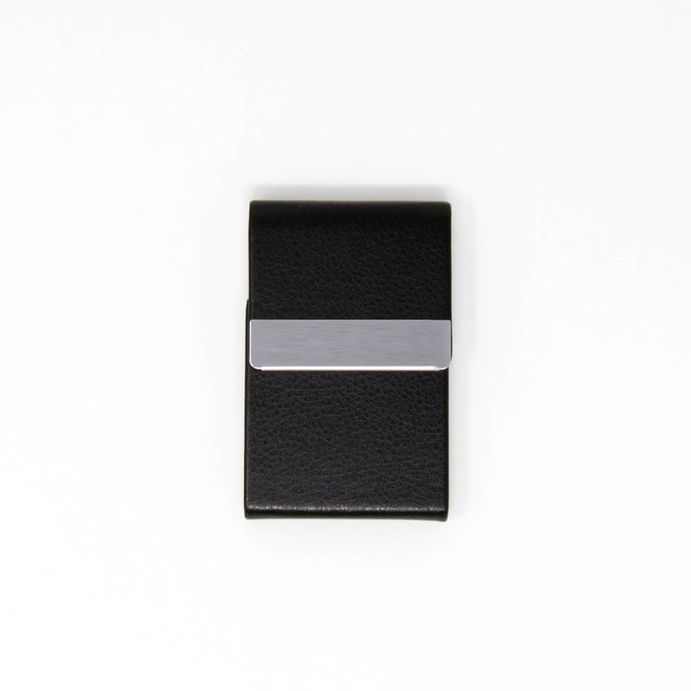 Black Leather Vertical Card Holder Wallet