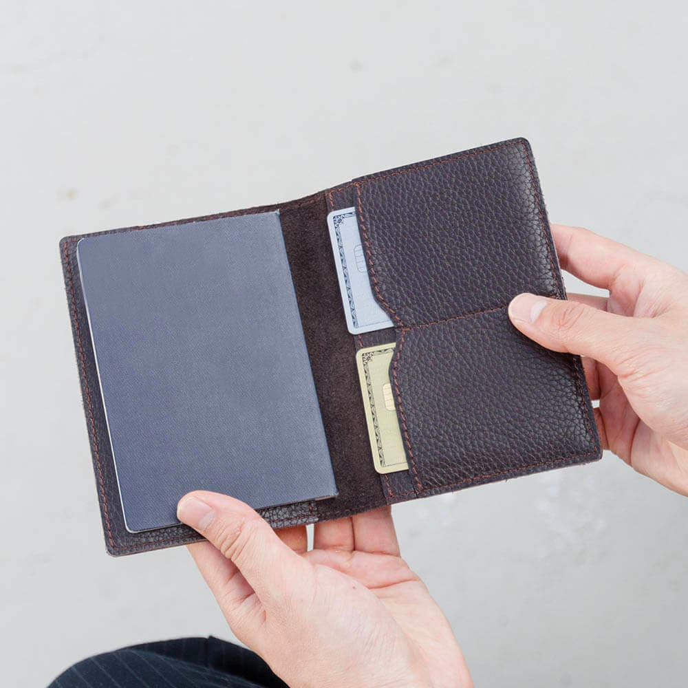 Dark Brown Leather Passport Cover