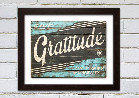 GRATITUDE BLUE AND BROWN MEDIUM PRINT