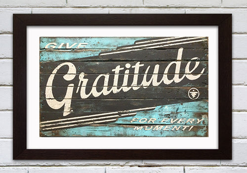 GRATITUDE BLUE AND BROWN LARGE FORMAT PRINT