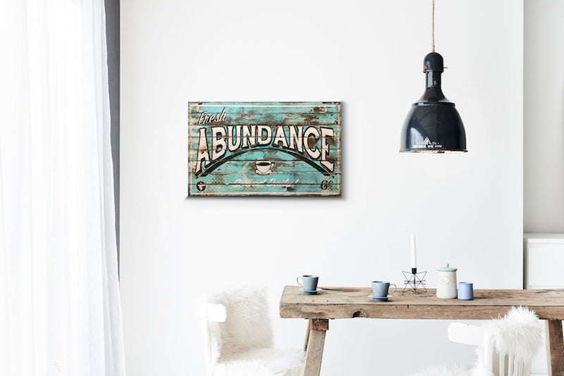 Abundance Mint Wood Sign Print