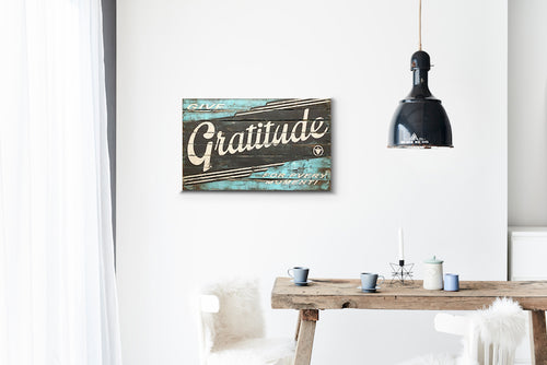 Gratitude Brown and Blue Wood Sign Print