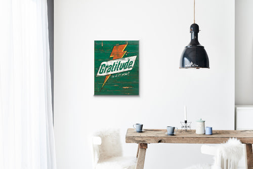 Gratitude Bolt Green Wood Sign Print