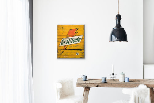 Gratitude Bolt Yellow Wood Sign Print
