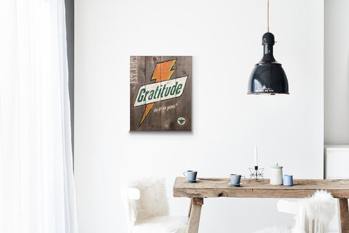 Gratitude Bolt Grey Wood Sign Print