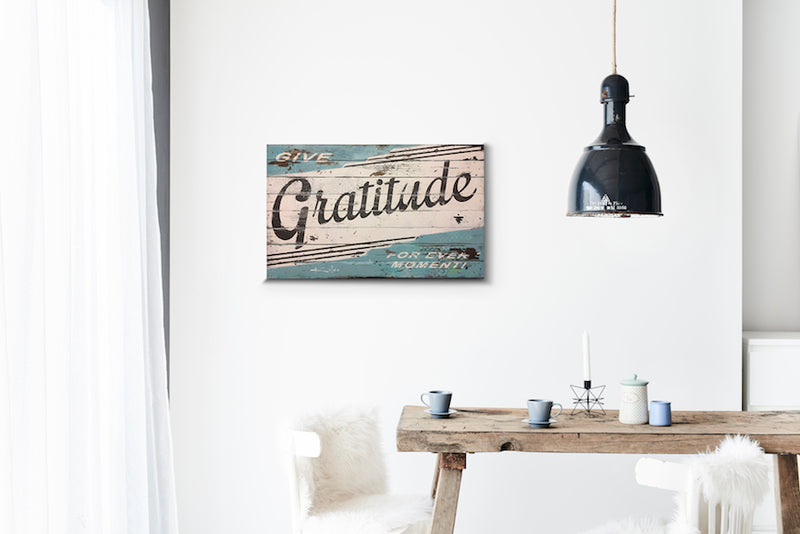 Gratitude Rain Blue Wood Sign Print