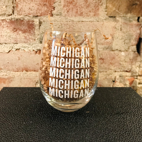 Stemless Michigan Word Glass