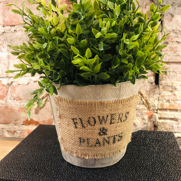 Wood & Burlap Flower Pot