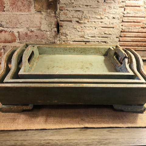 Green & Gold Distressed Wood Tray
