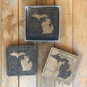 Set of 2 Michigan Puzzle Coasters