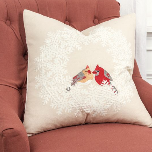 Birdie in Wreath Pillow