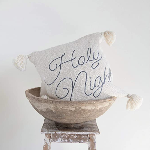 Holy Night Embroidered Pillow
