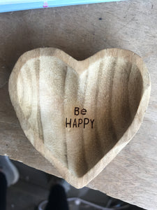Be Happy Wood Trinket dish