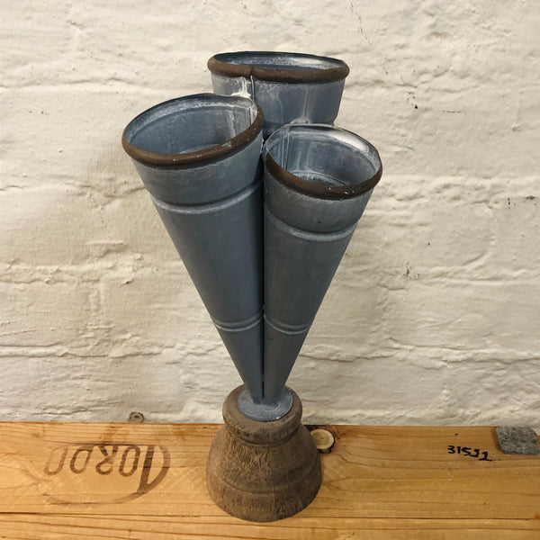 Conical Tin Triple Vase - Distressed Finish