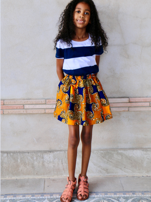 Girls Emilee Skirt Blue Swirls - Chen Burkett New York