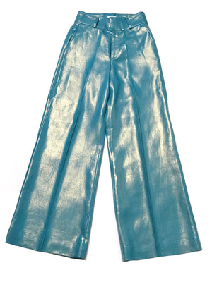 Thompson Linen Trousers: Teal - Chen Burkett New York