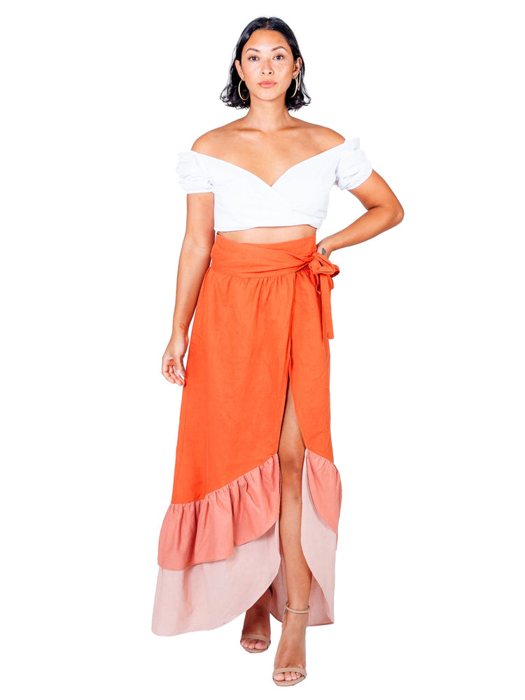 Load image into Gallery viewer, São Paulo Wrap Skirt: Linen - Chen Burkett New York