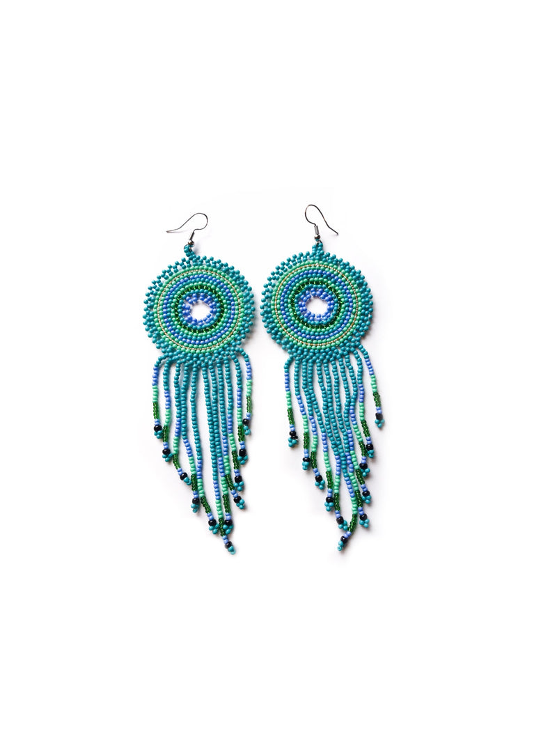 Tuscan Beaded Earrings: Turquoise