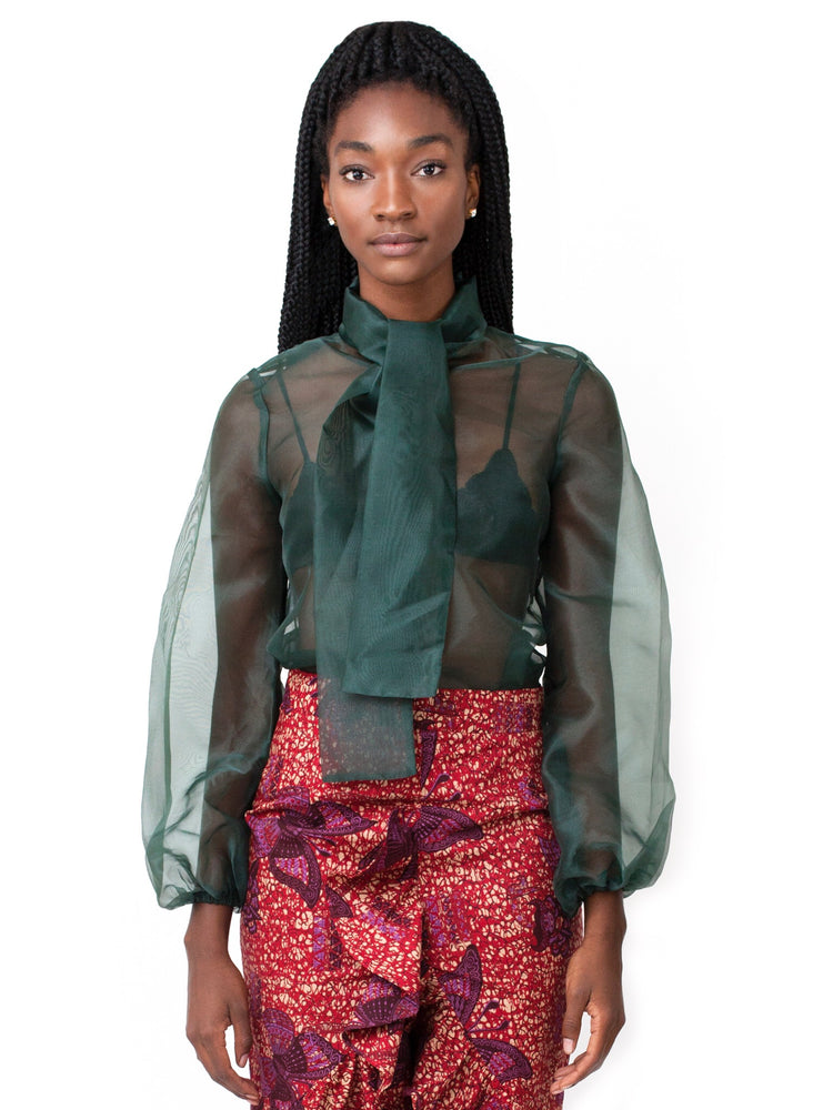 Load image into Gallery viewer, Vivica Organza Blouse: Hunter Green - Chen Burkett New York