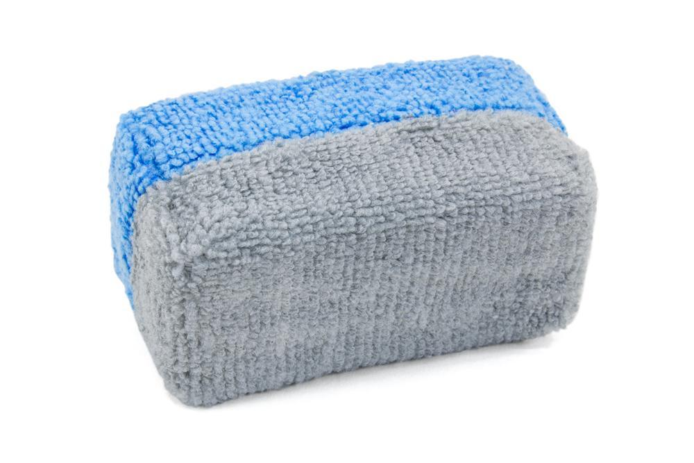 "Autofiber [Saver Applicator Terry] MF Terry Applicator Mini (3.5""x1.5""x1.5"") with Plastic Barrier - Blue & Gray - 12 pack Sponge - Autofiber Canada"