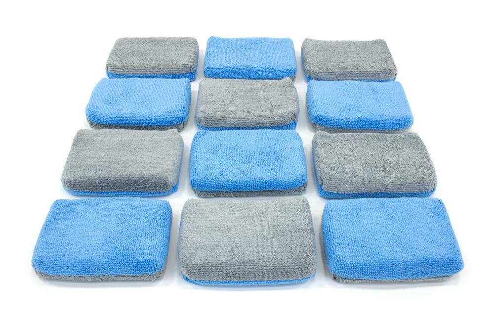 "Autofiber [Saver Applicator Terry] MF Terry Applicator Thin (5""x3.5""x1"") with Plastic Barrier - Blue & Gray - 12 pack Sponge - Autofiber Canada"