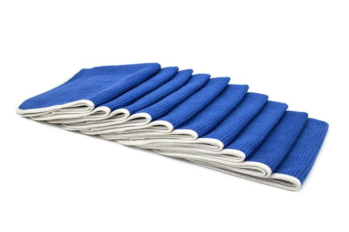 "Autofiber [No Streak Freak] BULK BUNDLE Microfiber Window and Mirror Waffle Towel (16""x16"") Blue - 10 pack Towel - Autofiber Canada"