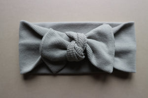 Grey Ribbed Cotton Headband