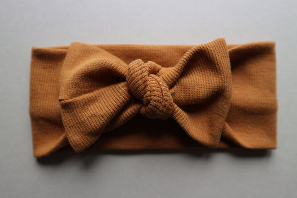 Brown Ribbed Cotton Headband