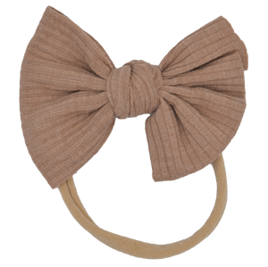 Ribbed Bow Beige