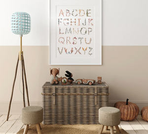 Mushie Alphabet Floral Poster