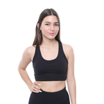 Front View PSYKIE Black Pocket Sports Bra long line sports bra, with built-in phone holder at the back.