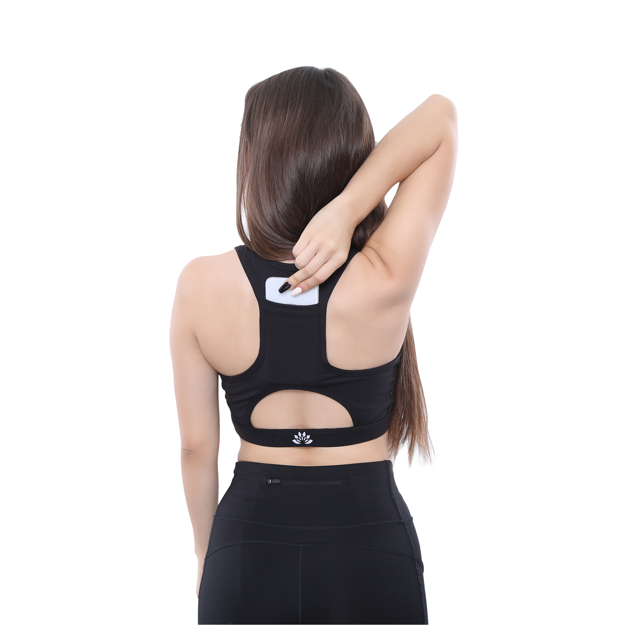Back Side View PSYKIE Black Pocket Sports Bra long line sports bra, with built-in phone holder at the back.