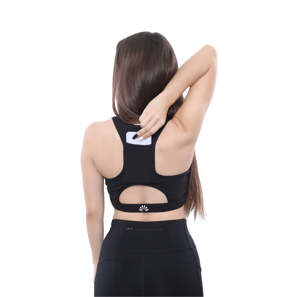 PSYKIE- Pocket Sports Bra (Black) - FEM Athletica