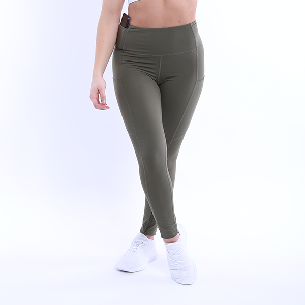 Front View The Flex Leggings Navy Green colour