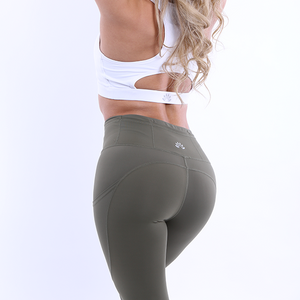 Back View The Flex Leggings Navy Green colour